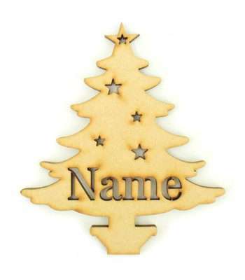Laser Cut Personalised Christmas Tree Bauble - 100mm Size - Stencil Font
