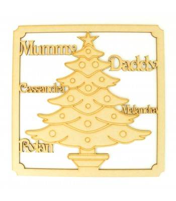 Laser Cut Personalised Framed Family Christmas Tree