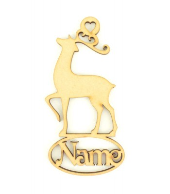 Laser Cut Personalised Fancy Reindeer Decoration With Name Underneath - 100mm Size - Vic Font