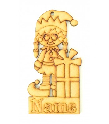 Laser Cut Personalised Christmas Elf Girl Decoration - 120mm Size