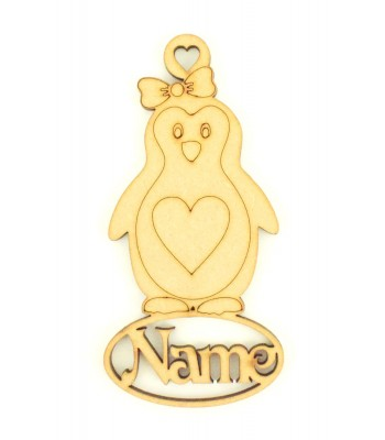 Laser Cut Personalised Girl Penguin Decoration With Name Underneath - 100mm Size - Vic Font