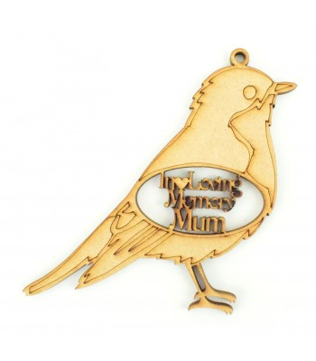 Laser Cut Personalised 'In Loving Memory' Christmas Robin Bauble