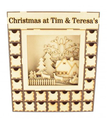Laser Cut Christmas Advent Calendar Drawers with 3D Detailed Scene, Lights and Personalised Panel - 24 Drawers - Select Options