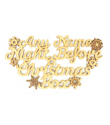 Laser cut Personalised 'Night Before Christmas Box' Snowflake sign.