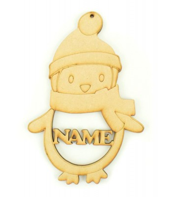Laser Cut Personalised Penguin Bauble - 150mm Size