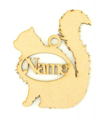 Laser Cut Personalised Persian Cat Shape Bauble - 110mm Size - Vic Font