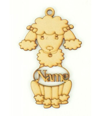 Laser Cut Personalised Poodle Dog Shape Bauble - 120mm Size