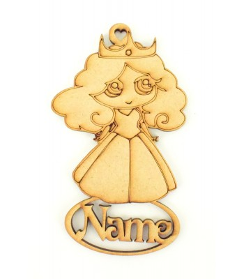 Laser Cut Personalised Princess Christmas Decoration - 115mm Size - Vic Font