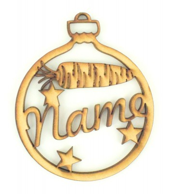 Laser Cut Personalised Pet Bauble - Name with Carrot & Stars - 100mm Size