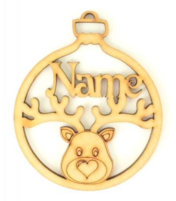 Laser Cut Personalised Christmas Bauble with Reindeer Head - 100mm Size - Vic Font