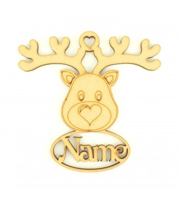 Laser Cut Personalised Reindeer Head Decoration With Name Underneath - 100mm Size - Vic Font