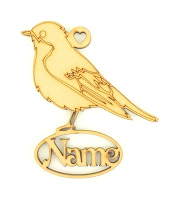 Laser Cut Personalised Robin Decoration With Name Underneath - 100mm Size - Vic Font