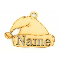 Laser Cut Personalised Christmas Santa Hat Bauble - 100mm Size - Stencil Font