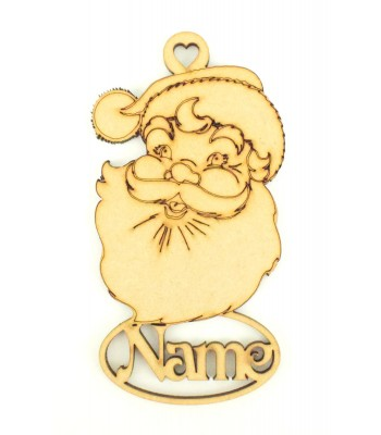 Laser Cut Personalised Santa Head Decoration With Name Underneath - 100mm Size - Vic Font