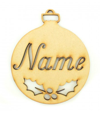 Laser Cut Personalised Christmas Bauble - 100mm Size - R-Stencil Font