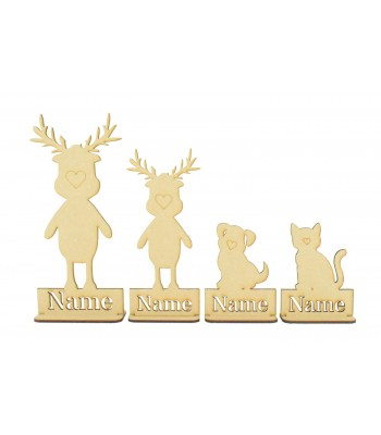 Laser Cut Personalised Single Reindeer Family - Stencil Names in Plinths