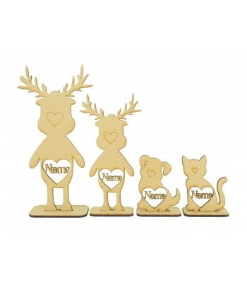 Laser Cut Personalised Single Reindeer Family - Names in Hearts