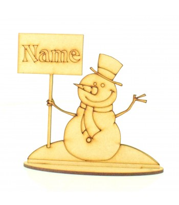Laser Cut Personalised Snowman on Stand - Size Options Available