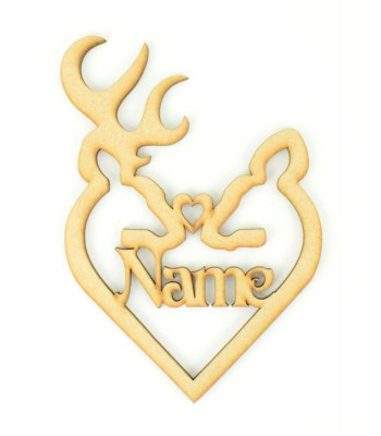 Laser Cut Personalised Stag & Deer Head Heart Christmas Bauble - 150mm Size