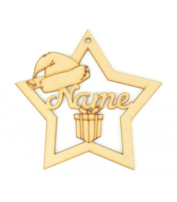 Laser Cut Large Personalised Star with Santa Hat and Present - 200mm Size