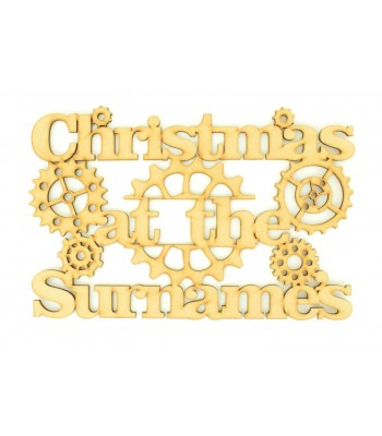 Laser Cut Personalised 'Christmas At The...' Sign - Steampunk Design - Size Options