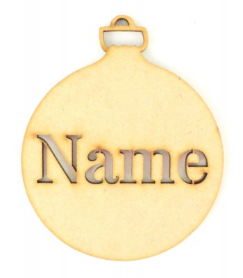 Laser Cut Personalised Christmas Bauble - 100mm Size - Stencil Font