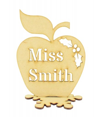 Laser cut Christmas Personalised Teachers Apple in a Stand with Stencil Cut Name