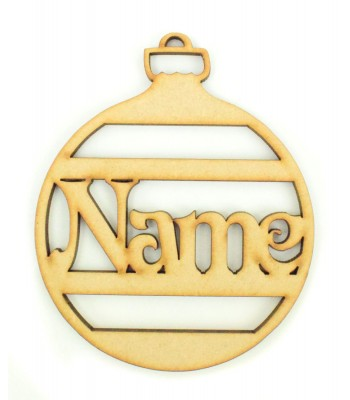 Laser Cut Personalised Christmas Stripe Bauble - 100mm Size - Vic Font