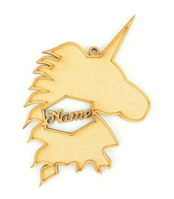 Laser Cut Personalised Christmas Unicorn Head Silhouette Bauble - 120mm Size - Script Font