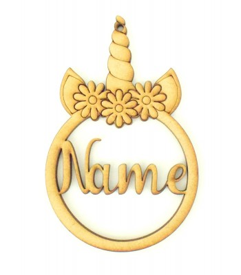Laser Cut Personalised Unicorn Head Christmas Bauble - Bob Font