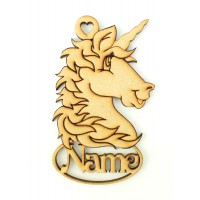 Laser Cut Personalised Christmas Detailed Unicorn Head Bauble - 100mm Size - Vic Font