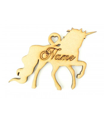 Laser Cut Personalised Christmas Unicorn Silhouette Bauble with Etched Name - 100mm Size - C-Script
