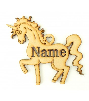 Laser Cut Personalised Christmas Unicorn Bauble - 100mm Size - Stencil Font