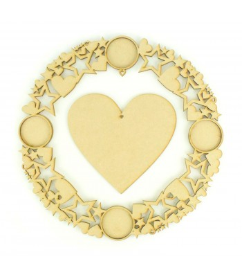 Laser Cut Photo Frame Christmas Wreath with Hanging Heart