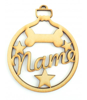 Laser Cut Personalised Pet Bauble - Name with Dog Bone & Stars - 100mm Size