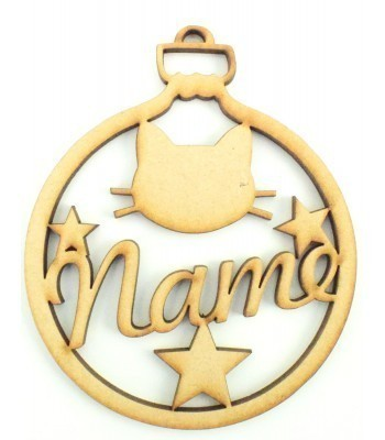 Laser Cut Personalised Pet Bauble - Name with Cat Head & Stars - 100mm Size
