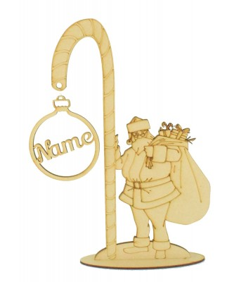 Laser Cut Santa with Candy Cane and Hanging Personalised Bauble on a Stand
