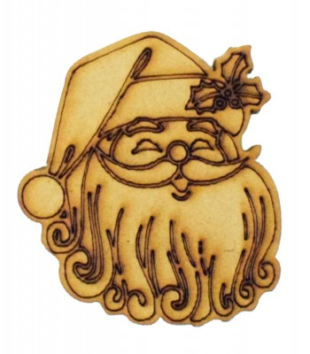 Laser Cut Detailed Santa Claus Head  with Holly on the Hat