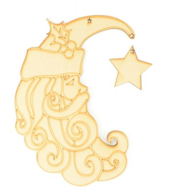 Laser cut Etched Santa Moon with hanging Star