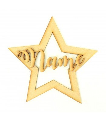Laser cut Personalised 200mm Christmas Shape with 3D Name - Star Design