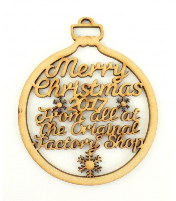 Laser Cut Personalised Business Christmas Baubles - 100mm Size - Script Font - Bulk Buy Approx 90
