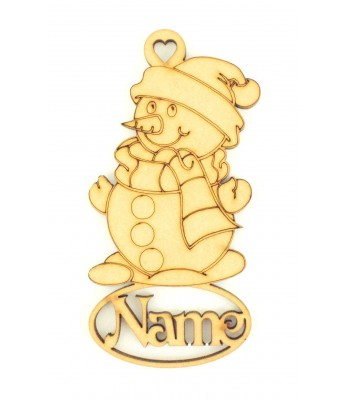 Laser Cut Personalised Snowman Decoration With Name Underneath - 100mm Size - Vic Font