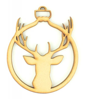 Laser Cut Stag Head Christmas Bauble