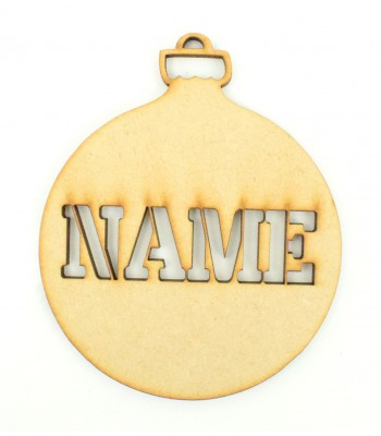 Laser Cut Personalised Christmas Bauble - 100mm Size - X-T Font