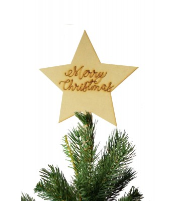 Laser Cut 'Merry Christmas' Star Christmas Tree Topper