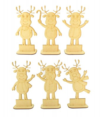 Laser Cut Single Reindeer Character Family - With Blank Plinth To Add Vinyl