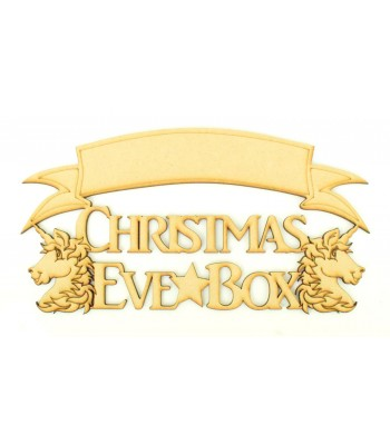 Laser cut 'Christmas Eve Box' Quote Sign with Unicorns - Blank Banner To Add Vinyl