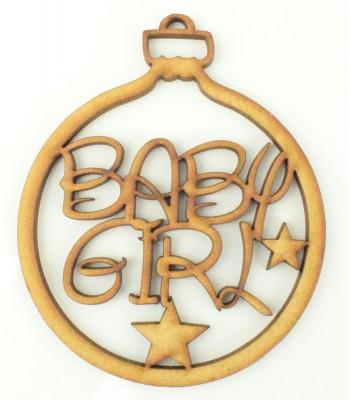 Laser Cut 'Baby Girl' Disney Font Bauble