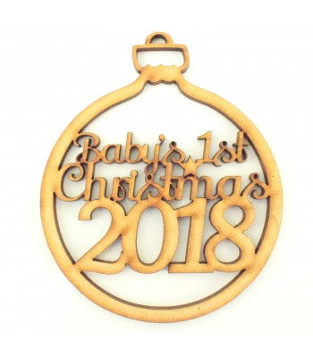 Laser Cut 'Baby's 1st Christmas' Christmas Bauble with Year of your choice