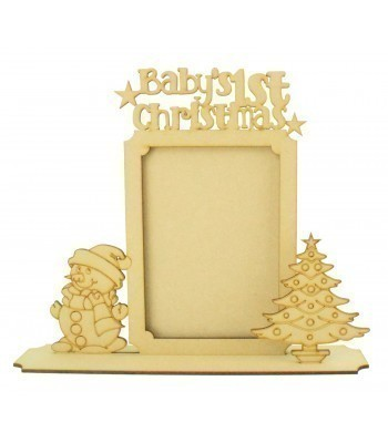 Laser cut 'Baby's 1st Christmas' Photo Frame on a Stand